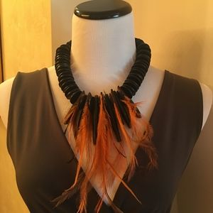 Papeo Creations Feather & African Disk Necklace